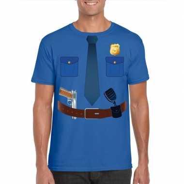 Politie verkleedkleding t shirt blauw heren