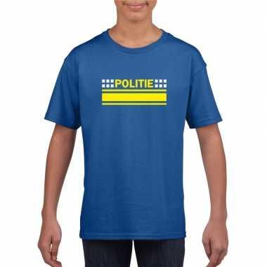 Politieagent shirt blauw kinderen