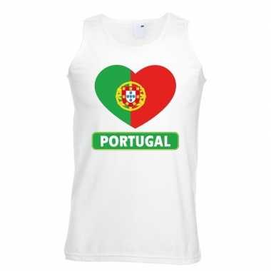 Portugal hart vlag mouwloos shirt wit heren