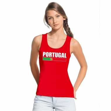 Portugal supporter mouwloos shirt/ tanktop rood dames