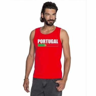 Portugal supporter mouwloos shirt/ tanktop rood heren
