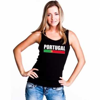 Portugal supporter mouwloos shirt/ tanktop zwart dames