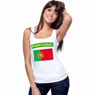 Portugal vlag mouwloos shirt wit dames