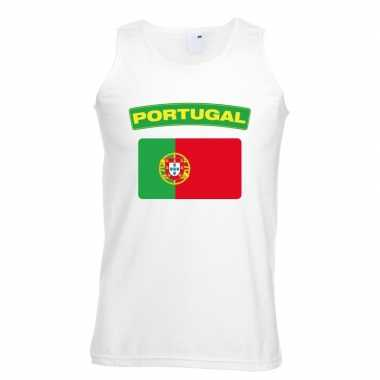 Portugal vlag mouwloos shirt wit heren
