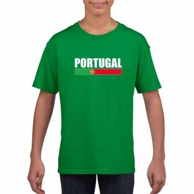 Portugese supporter t shirt groen kinderen