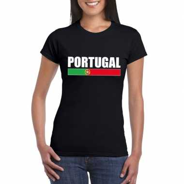Portugese supporter t shirt zwart dames