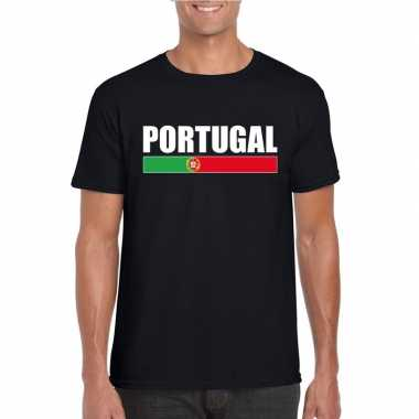 Portugese supporter t shirt zwart heren