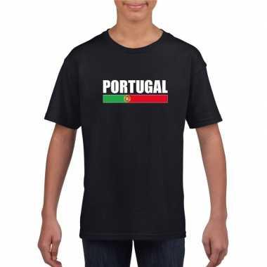 Portugese supporter t shirt zwart kinderen
