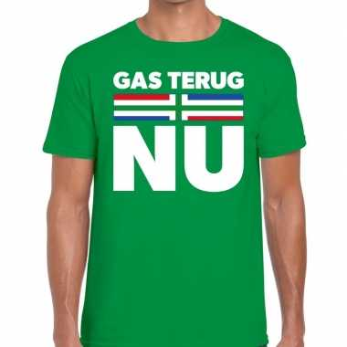 Protest t shirt gas terug nu groningen groen heren