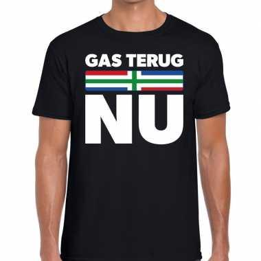 Protest t shirt gas terug nu groningen zwart heren