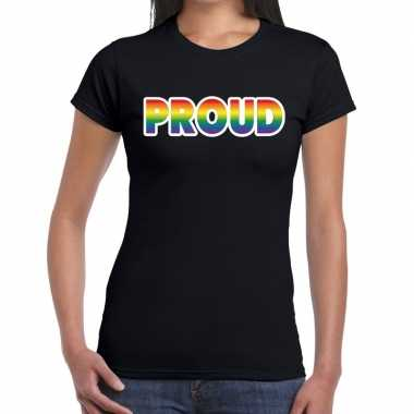 Proud gay pride tekst/fun shirt zwart dames