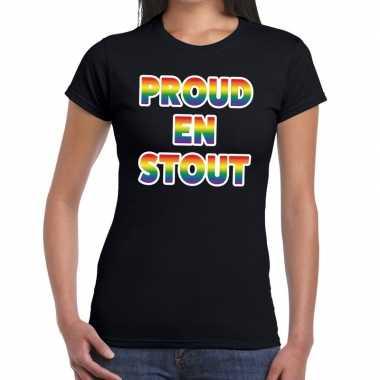 Proud stout gaypride tekst/fun shirt zwart dames
