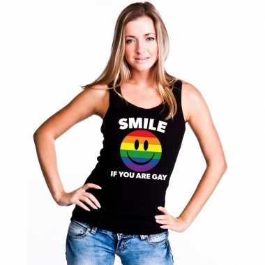 Regenboog emoticon smile if you are gay mouwloos shirt/ tanktop zwart