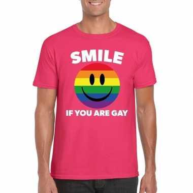 Regenboog emoticon smile if you are gay shirt roze heren