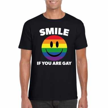 Regenboog emoticon smile if you are gay shirt zwart heren