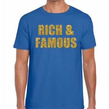 Rich and famous fun t shirt blauw heren