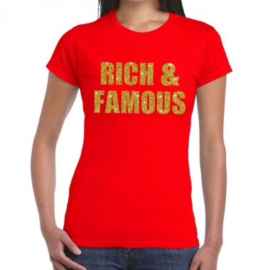 Rich and famous fun t shirt rood dames