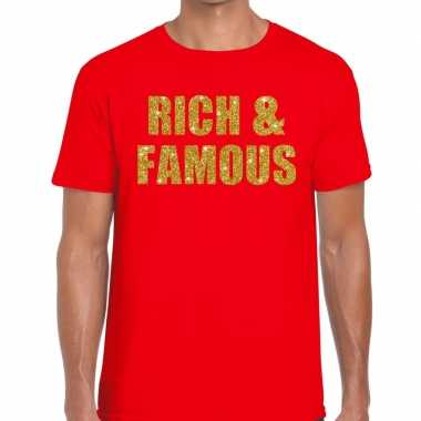Rich and famous fun t shirt rood heren