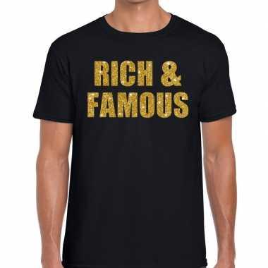 Rich and famous fun t shirt zwart heren