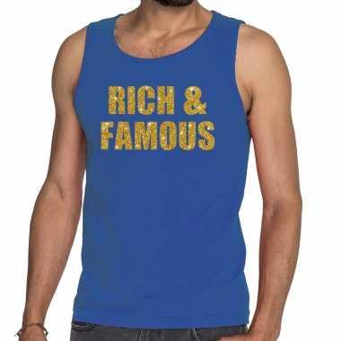 Rich and famous fun tanktop / mouwloos shirt blauw heren