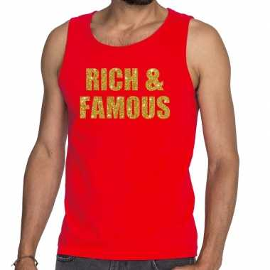 Rich and famous fun tanktop / mouwloos shirt rood heren