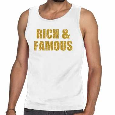 Rich and famous fun tanktop / mouwloos shirt wit heren