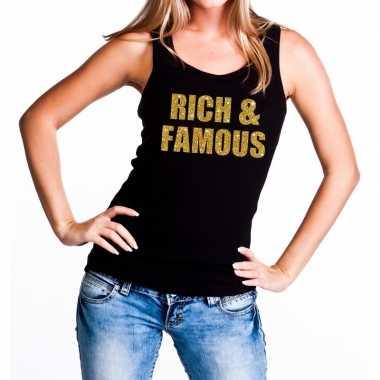 Rich and famous fun tanktop / mouwloos shirt zwart dames