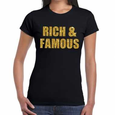 Rich and famous goud fun t shirt zwart dames
