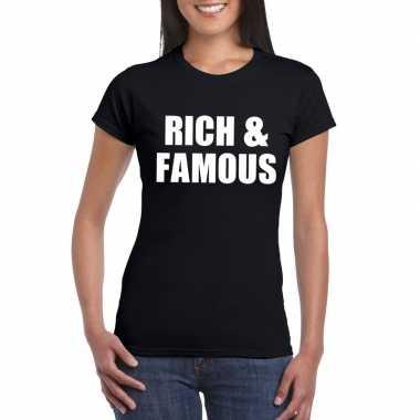 Rich & famous fun t shirt zwart dames