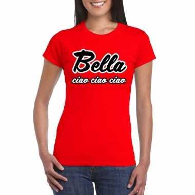 Rode bankovervaller bella ciao t shirt dames