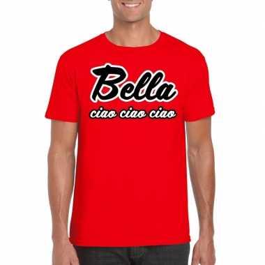 Rode bankovervaller bella ciao t shirt heren
