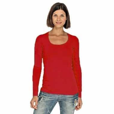 Rode longsleeve shirt ronde hals dames