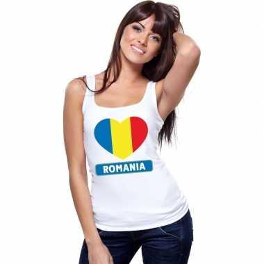 Roemenie hart vlag mouwloos shirt wit dames