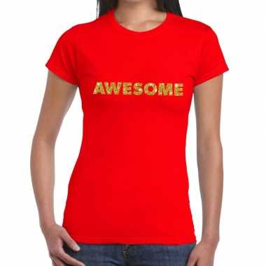 Rood awesome goud fun t shirt dames