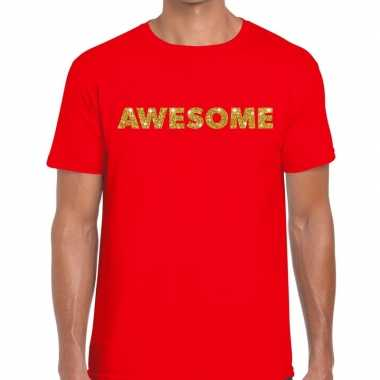 Rood awesome goud fun t shirt heren