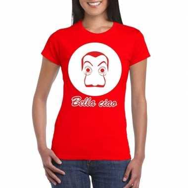 Rood bankovervaller t-shirt dames