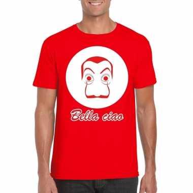 Rood bankovervaller t-shirt heren