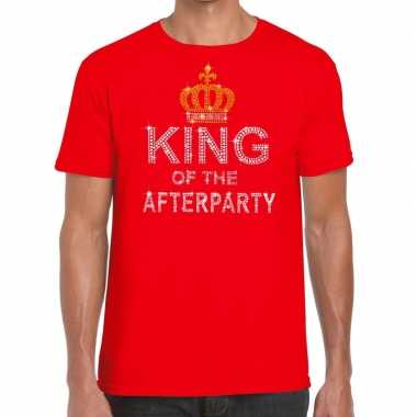 Rood king of the afterparty glitter steentjes t shirt heren