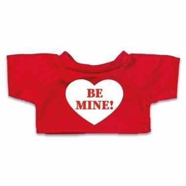 Rood knuffel shirt hartje be mine maat m clothies knuffel 13 bij 9