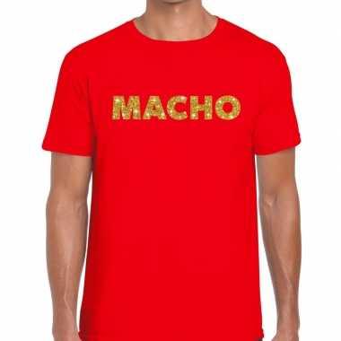 Rood macho goud fun t shirt heren