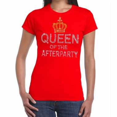 Rood queen of the afterparty glitter steentjes t shirt dames