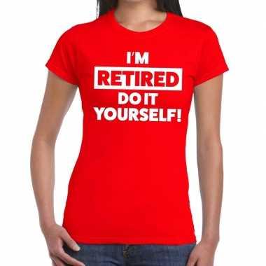 Rood retired/gepensioneerd fun t shirt dames