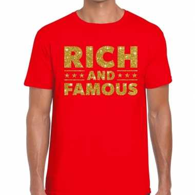 Rood rich and famous goud fun t shirt heren