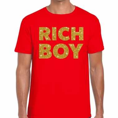 Rood rich boy goud fun t shirt heren