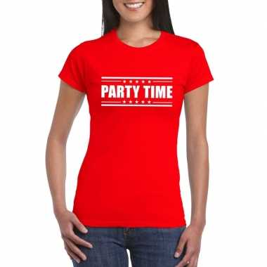Rood t shirt dames tekst party chick