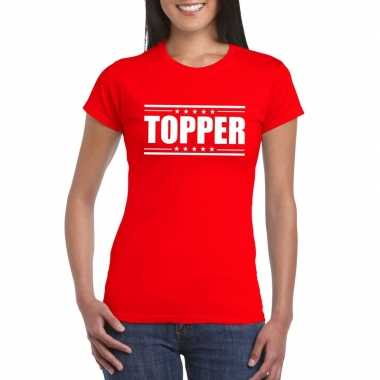 Rood t shirt dames tekst topper