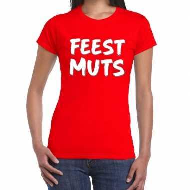 Rood t shirt feestmuts dames