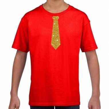 Rood t shirt gouden stropdas kinderen