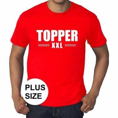 Rood t shirt grote maat heren tekst topper xxl