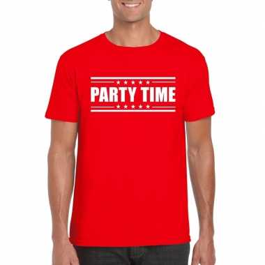 Rood t shirt heren tekst party time